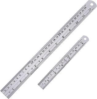 Lot de 2 règles droites en acier inoxydable 15 et 30 cm