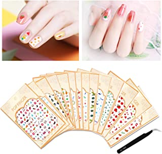Nail Decals Nail Art Stickers Self adhesive 3D Cute Dolphin Shell Cactus Cherry Leaves Flowers Decals for Women Girls Kids Manicure DIY or Nail Salon with Tweezers 14 Sheets (More than 1200Pcs)