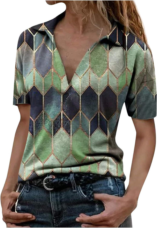 Women Short Sleeve Tops Geometric Pattern Print T-Shirt V-Neck Button Pullover Tunic Blouse