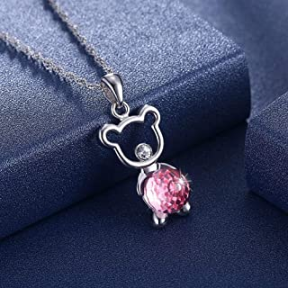 Home Crystal Necklace Sterling Silver 925 Bear Cub Pendant Lady Clavicle Necklace (Color : Pink) Girls Necklace (Color : Pink)
