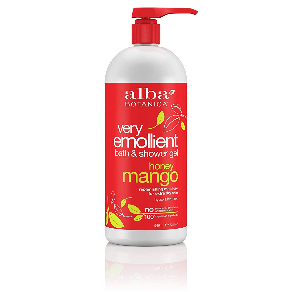 Alba Botanica, Natural Very Emollient Bath & Shower Gel, Honey Mango, 32 fl oz (946 ml)