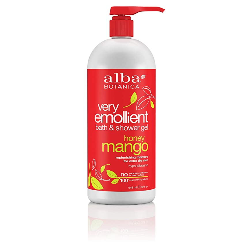 桃起こる自発的Alba Botanica, Natural Very Emollient Bath & Shower Gel, Honey Mango, 32 fl oz (946 ml)