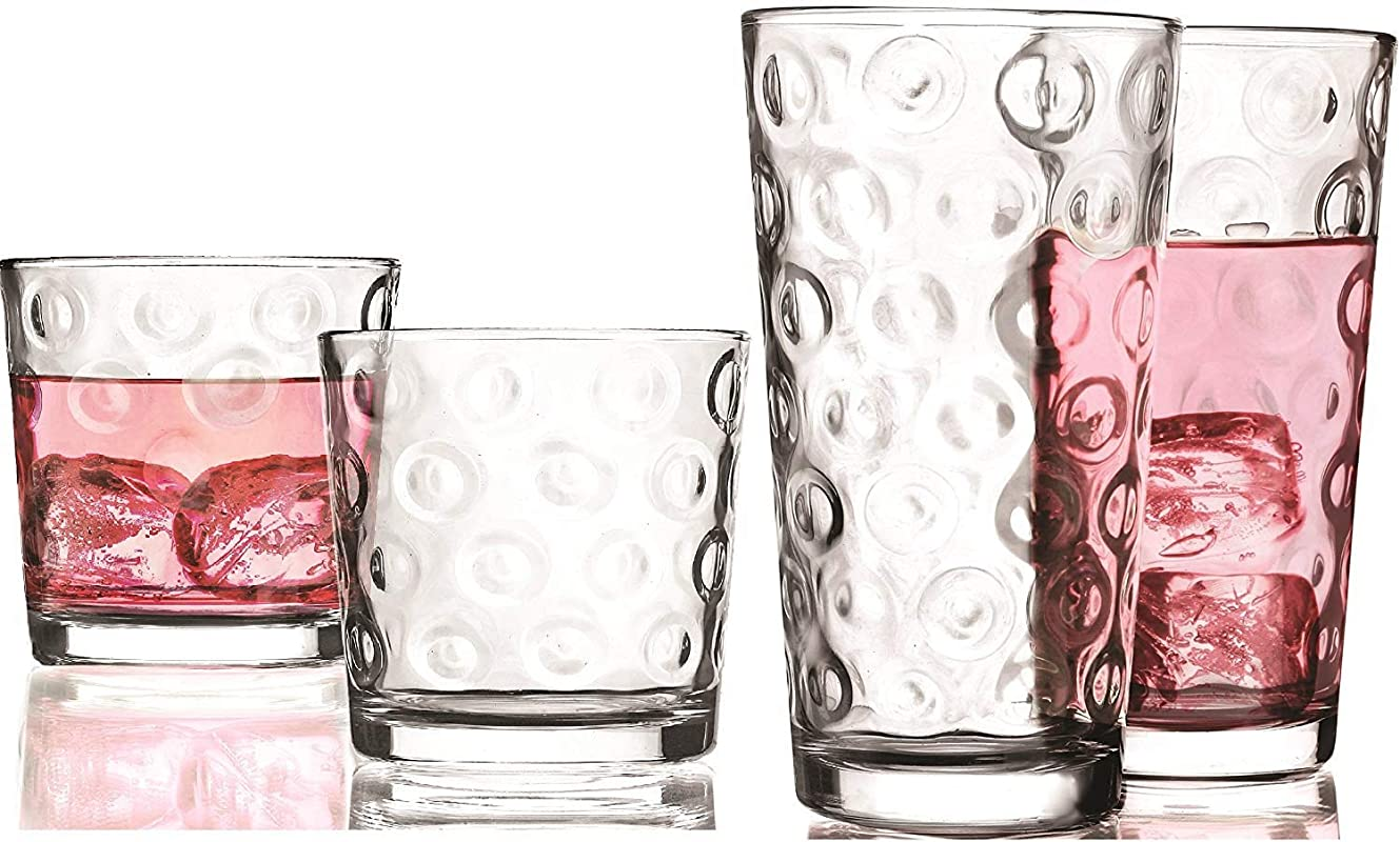 Circleware 40189 Circle Huge Set Of 16 Highball Tumbler Drinking Glasses And Whiskey Cups Glassware For Water Beer Juice Ice Tea Beverage Decor 8 15 7 Oz 8 12 5 Oz
