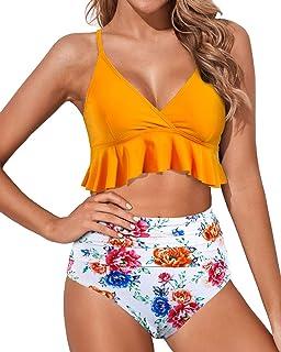 Tempt Me Women Two Pieces High Waisted Ruffle Bikini Set V Neck Printed Swimwear Bathing Suit