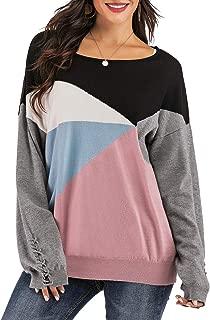 Yomoko Women's Cross Batwing Sleeve Color Block Loose Oversized Knit Pullover Sweater Tops