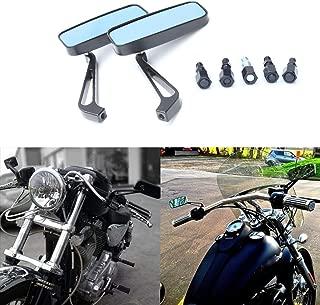 Motorcycle 8mm 10mm Rectangle Rear View Side Mirrors for Cruiser Chopper Honda Yamaha Suzuki-Black