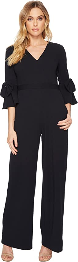 Donna Morgan - V-Neck Crepe Jumpsuit w/ Bell Sleeve