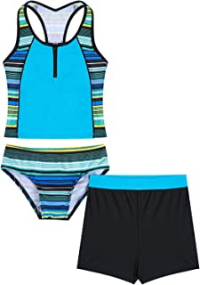 iiniim Kinder Jungen Badeanzug Einteiler Schwimmanzug mit Reisverschluss Bademode Kurzarm Shirt Badeshorts