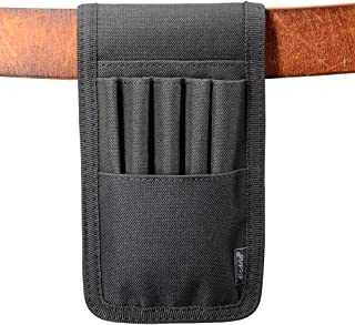 Pen Holder, Pencil Holder, Pen Sleeve Case, Holster Attached on Belt, Hold Multiple pens, Can Hold 6 Inch Ruler, 4 Pens and a Marker. Made of Durable Fabrics, Detachable, Black.