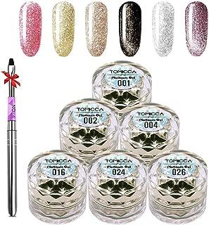 Gel Nail Polish Kit Glitter UV LED Gel Nail Varnish Set 6 Colors Pink Gold Silver Purple Black + Brush Shiny Long Lasting Sock Off Gel Nail Decoration Art Kit