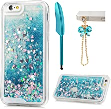 ZSTVIVA Case Cover replacement for iPhone 6, iPhone 6S, Glitter Liquid Cover Blue Quicksand Bling Sparkle Moving Flowing Love Heart Soft TPU Bumper Protector with Stylus Pen Dust Plug