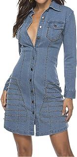 Forgrace Women's Sexy Slim Fit Rivet Long Sleeve Button Down Denim Shirt Dress
