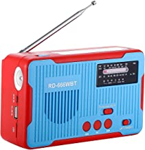 Emergency Radio and MP3 Player Hand Crank Solar Powered AM/FM/NOAA. Alert Weather Channel with LED Flashlight, Large Power Bank 2300mAh for iPhone/Smart Phone (Blue)