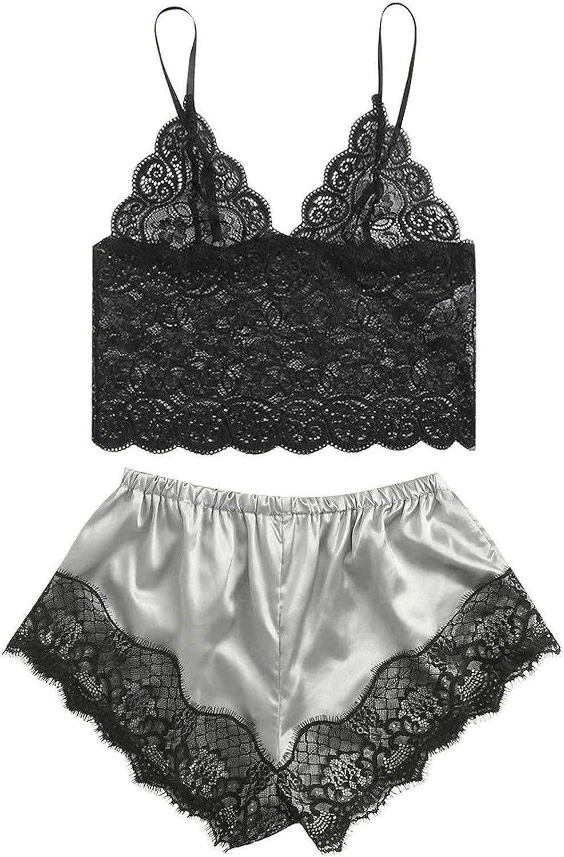 Women's Pajamas Sets 2 Piece, Lace Trim Satin Cami Top with Shorts Sleepwear Sexy Lingerie Sleepwear Lounge Set