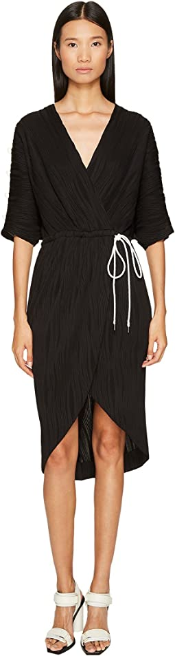 Prabal Gurung Wave Rib Jersey Dolman Sleeve Wrap Dress