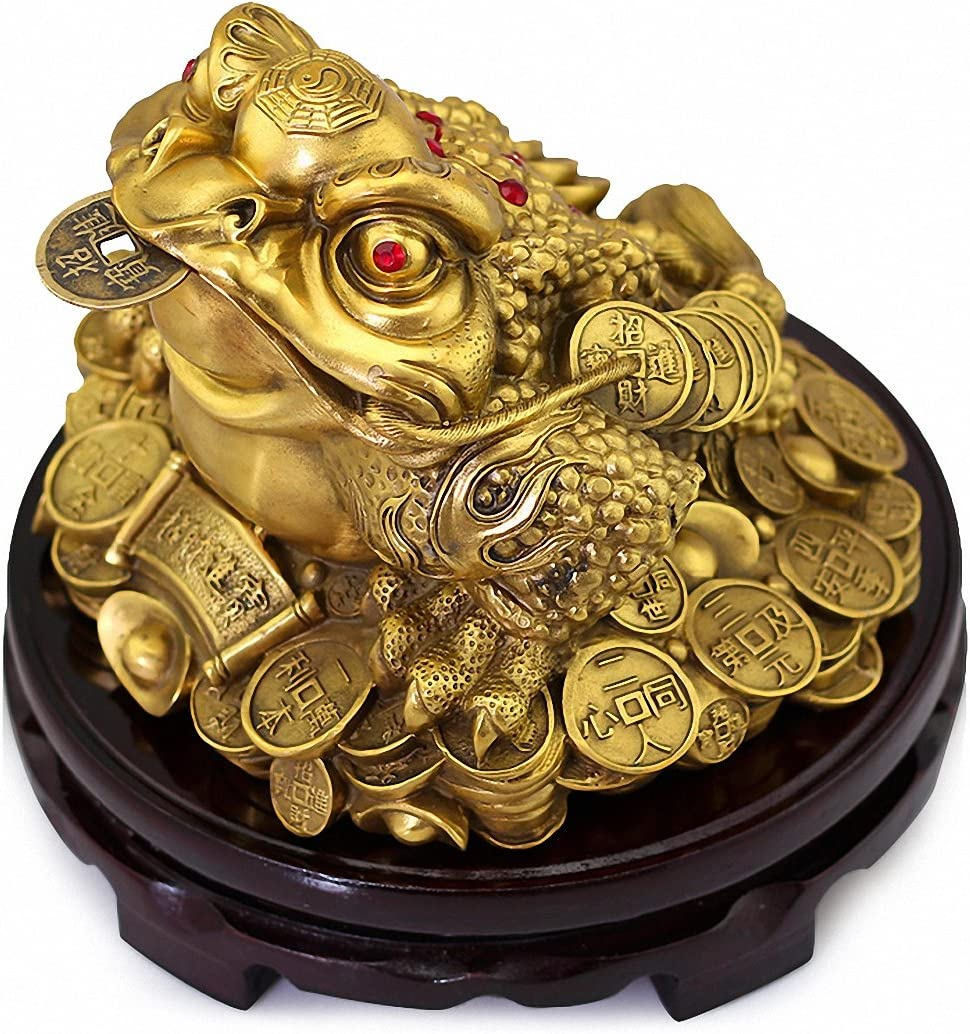 famous Large Size Brass Feng Shui Money Three o Wealth Legged Memphis Mall Frog