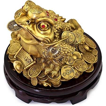 Brass Carved 3 Legged Toad Coins Money Frog Statue Wealth Keychain Figure