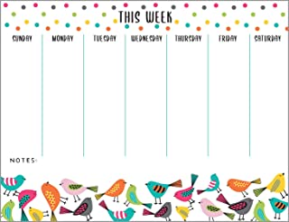 Bright Birds Weekly Planner Pad with Attachable Magnet