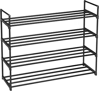 SONGMICS 4-Tier Shoe Rack, Metal Shoe Shelf, Storage Organizer Hold up to 20 Pairs Shoes, for Living Room, Entryway, Hallway and Cloakroom, 36.2 x 11.8 x 28.7 Inches, Black ULSA24BK