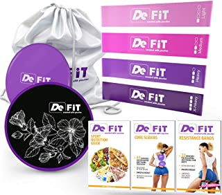 DeFit Core Sliders and Resistance Bands for Legs and Butt - Booty Bands & Sliders Fitness - Resistance Loops and Sliders Set with 4 Workout Bands and Exercise Sliders, Nutrition & Workout eBooks & App