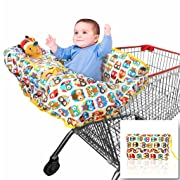 Croc n frog 2-in-1 Shopping Cart Covers for Baby + High Chair Cover for Germ Protection - Large Size with Sippy Cup Holder, Cell Phone Storage, Shower Gift Idea, Babies 6 Months to 4 Years
