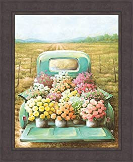 Home Cabin Décor Flowers for Sale by Dee Dee 28x34 Classic Vintage Old Teal Truck Flower Pots Garden Farm Framed Art Print Picture