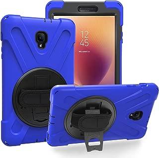 KIQ Galaxy Tab A 8.0 2017 T380 T385 Case Shockproof Heavy Duty Military Armor Hybrid Shield Cover Palmstrap Kickstand for Samsung Galaxy Tab A 8.0-inch SM-T380 SM-T385 (Shield Blue)
