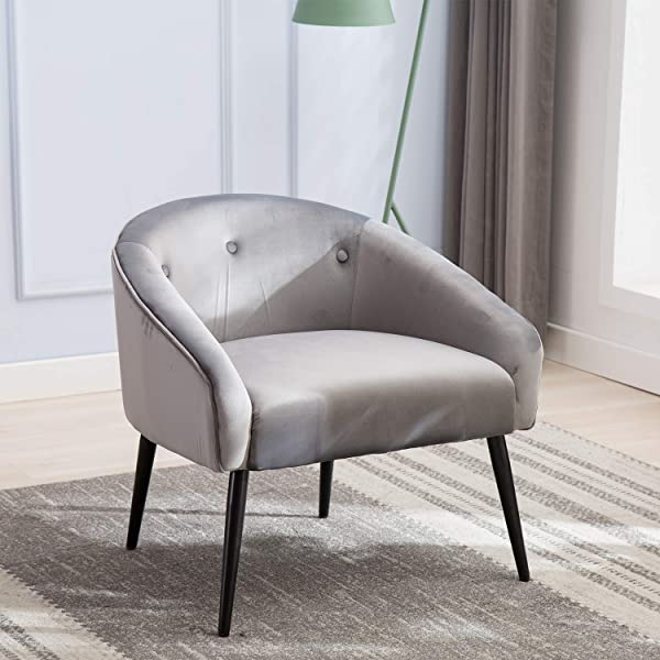 Mid Century Modern Tufted Arm Chair Grey JULYFOX Upholstered Velvet Accent Chair 330 LB Heavy Duty 22 Inch Extra Wide Seat 6 Inch Thick Padded Club Side Tub Chair For Living Room Bedroom Office