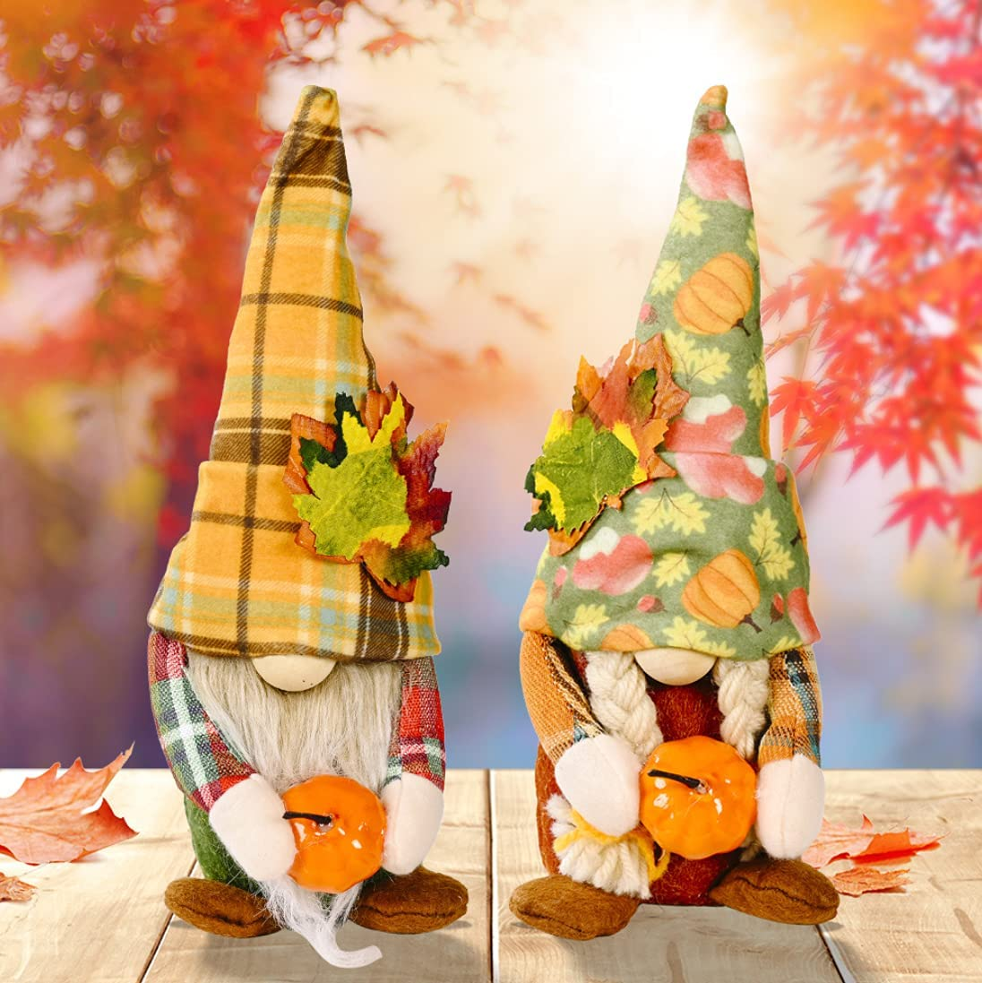Set of Max 80% OFF 2 Gnomes Plush Pumpkin Fall Hold Thanksgiving Excellent Decorations