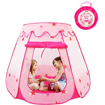 KIDAMI Princess Pop Up Tent for Toddlers and Girls (No Assembly Required), Foldable and Portable with a Carrying Bag, As Playhouse & Ball Pit for Indoor Outdoor (Pink)