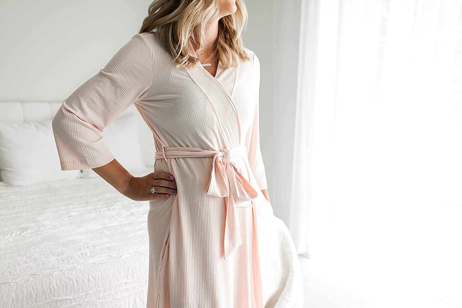 Posh Peanut Mommy Robe for Maternity, Labor Delivery Soft Nursing Lounge Wear, Viscose from Bamboo at  Women's Clothing store