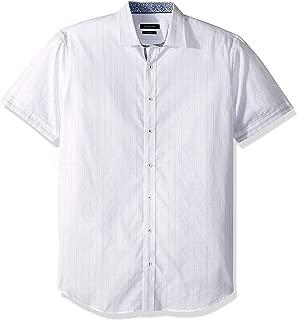 Bugatchi Men's Short Sleeve Shaped Fit Pin Striped Sport Shirt