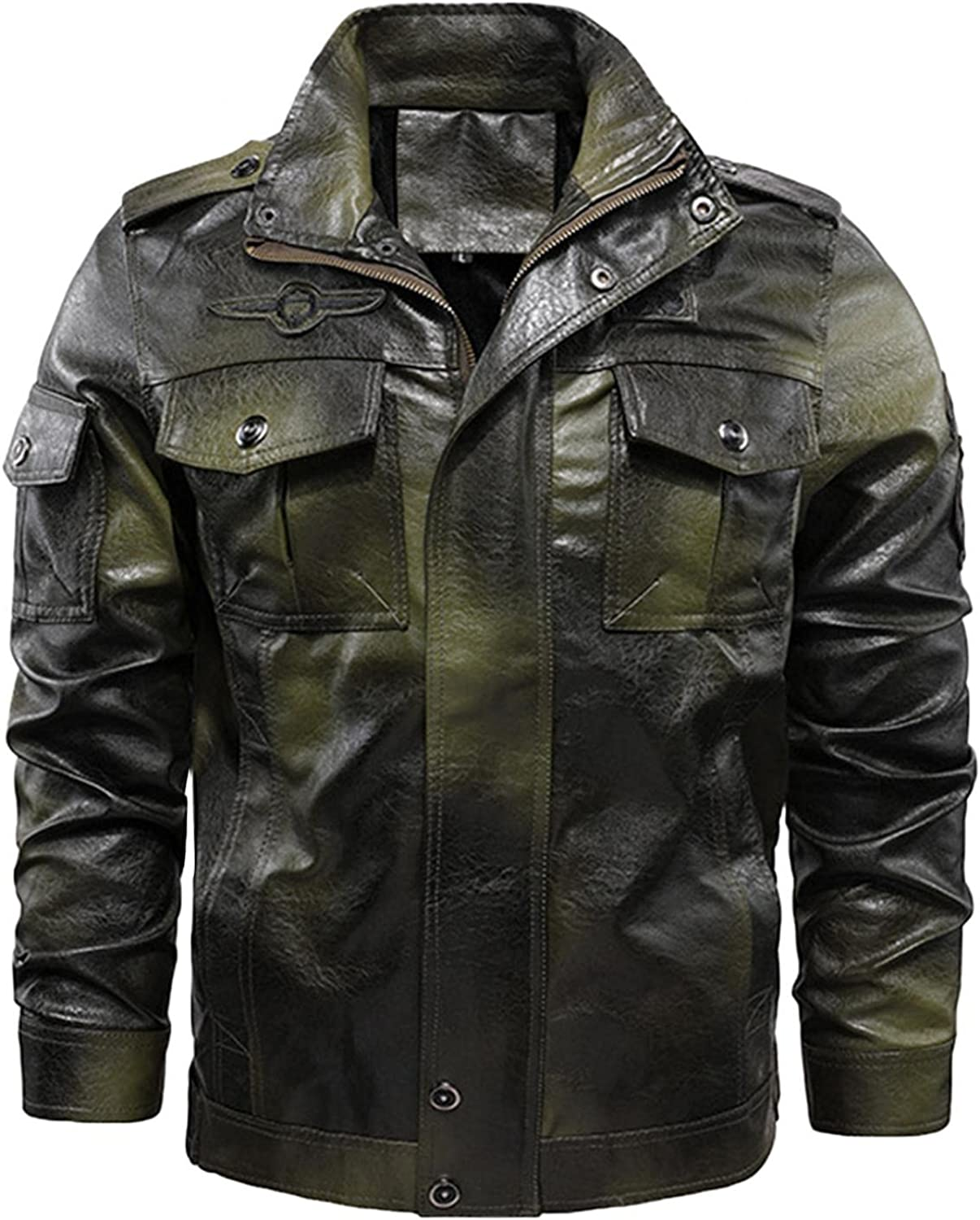 LEIYAN Faux Leather Jacket for Men Zip Up Long Sleeve Stand Collar Winter Vintage Cargo Military Slim Fit Biker Coat