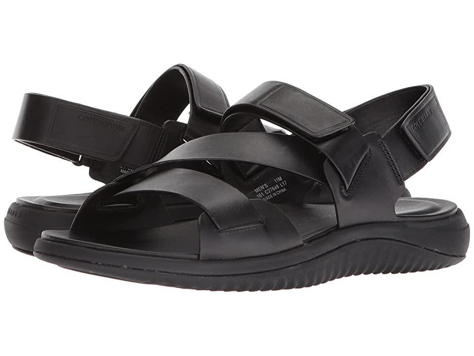 Cole Haan 2.Zerogrand Multi Strap Sandal (Black Leather/Black) Men