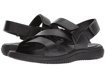 Cole Haan 2.Zerogrand Multi Strap Sandal (Black Leather/Black) Men