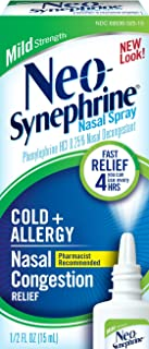 Neo-Synephrine Nasal Spray for Cold & Sinus Relief, Mild Strength, Fast Relief, Pharmacist Recommended, 0.5 Fl Oz