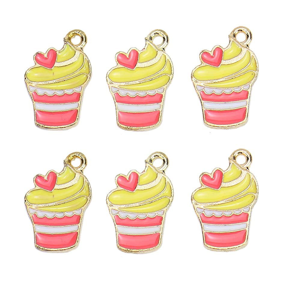 Monrocco 15Pcs Enamel Ice Cream Charm Pendants for Jewelry Making Bracelet Necklace and Crafting