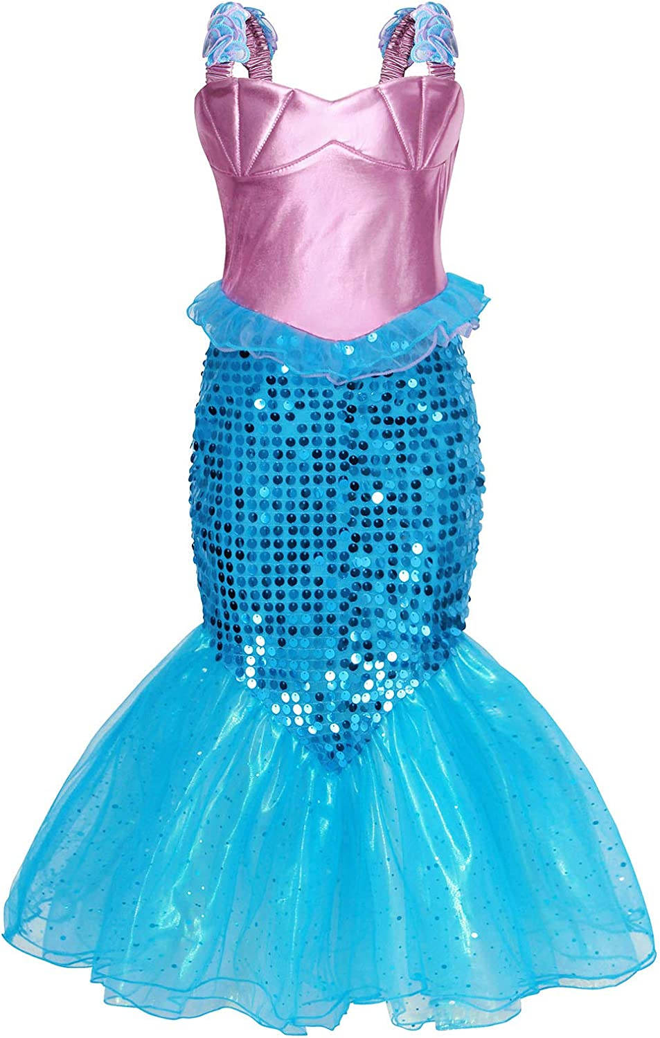 AmzBarley Little Girls Princess Mermaid Costumes Halloween Party Sequins Strappy Dress
