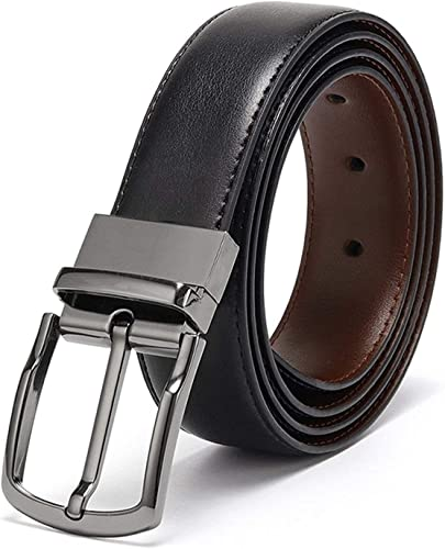 Belts for Men Reversible Leather 1 25 Waist Strap Fashion Dress Buckle Eliz Luxe 1 Year Warranty