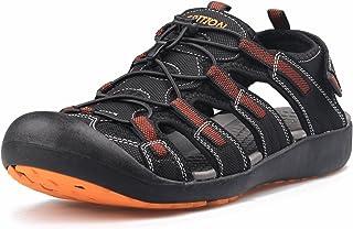 GRITION Men's Walking Sandals Outdoor Sport Adjustable Hiking Sandals Waterproof Quick Dry Protective Toecap Closed Toe fo...