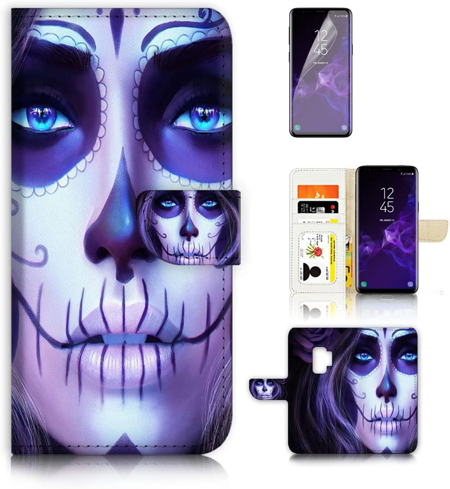(for Samsung S9+ / Galaxy S9 Plus) Flip Wallet Case Cover & Screen Protector Bundle - A4264 Sugar Skull