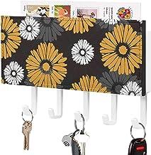 Crochet de clé mural, support mural de trieuse de courrier, organisateur de porte-clé de courrier, fleur jaune plante oran...