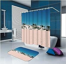 AMDXD Bathroom Set Curtain Mats Accessories Beach House Brown Blue 3D Shower Curtain Ocean Bathroom Mat 165x180CM