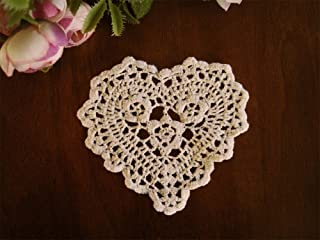 Handmade Cotton Beige Crochet Lace Coaster Doilies, 4-inch Heart, Set of 4