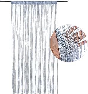 Dihope cortina opaca antimoscas, cortina de puerta, panel mosquitero, con lentejuelas, cortina de decoración de pared, ventana, sala, de flecos, 100 x 200 cm, poliéster, plata, Taille:100*200cm