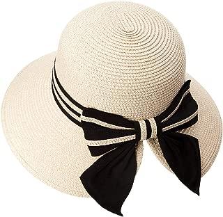 Packable Bucket Cloche Ponytail Straw Sun Panama Hat Fedora for Women Summer Beach Wide Brim Beige 56-58cm