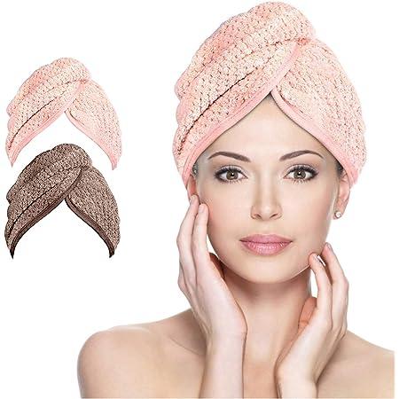 Haartuch trocknen schnell 2 pcs Handtuch f/ür Haare Schnelltrocknend Braun) Turban Haartrockentuchmit Knopf saugf/ähig Super Absorbent Haar Trocknendes Tuch f/ür Alle Haartypen (Pink