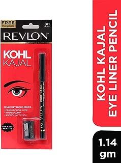 Revlon Kohl Kajal Eye Liner Pencil, Black, 1.14g Free Sharpner