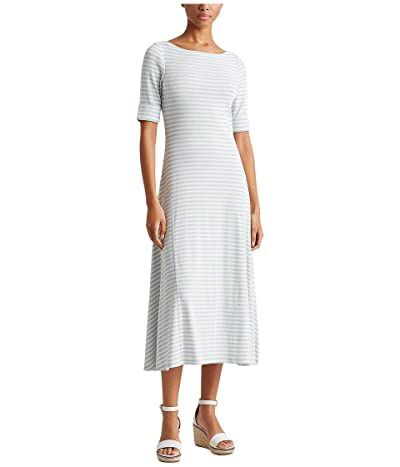 LAUREN Ralph Lauren Petite Striped Cotton-Blend Maxi Dress (Soft Indigo/Mascarpone Cream) Women