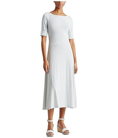 LAUREN Ralph Lauren Petite Striped Cotton-Blend Maxi Dress (Soft Indigo/Mascarpone Cream) Women